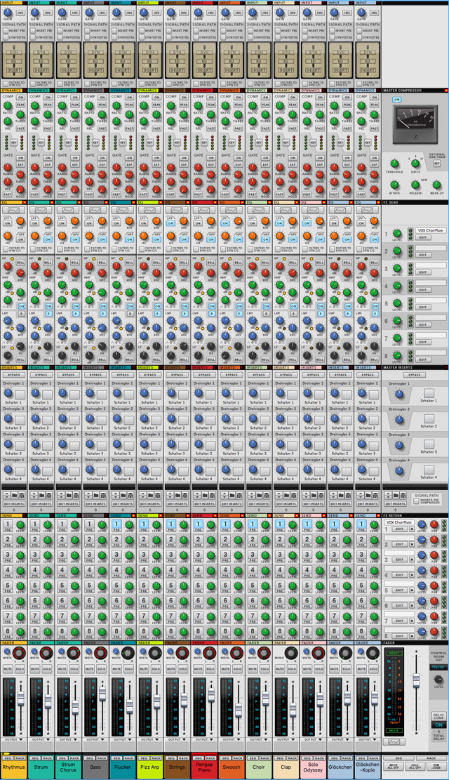 Nur die in der aktuellen Musikproduktion verwendeten 14 Spuren werden hier gezeigt