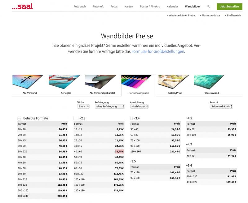 Screen Shot der WebSite von Saal Digital